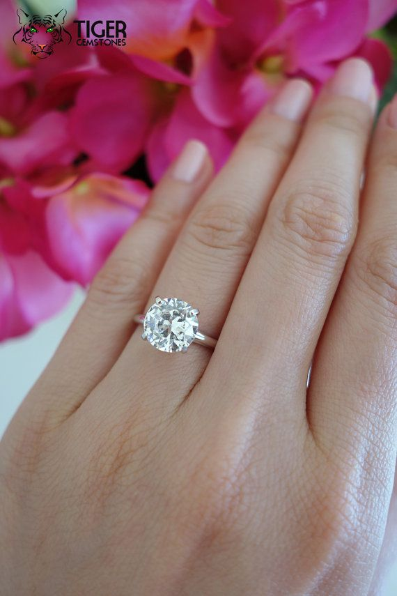 Size 7: 3 Carat 14k White Gold 9mm 4 Prong by TigerGemstones