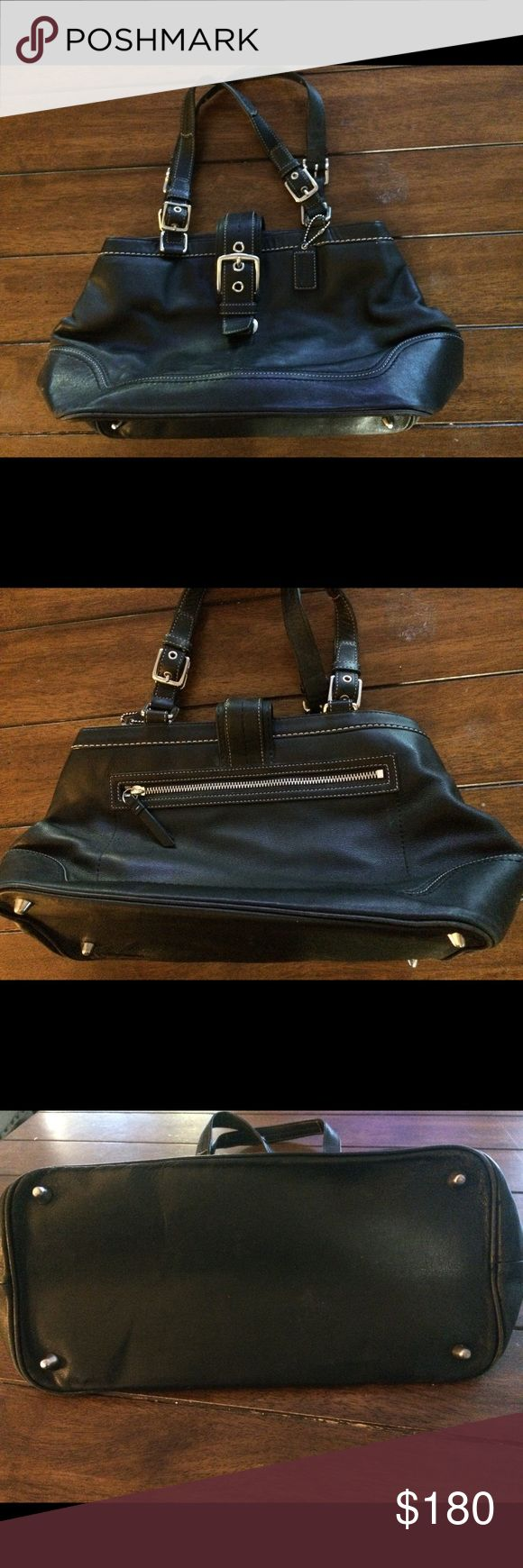 Black Coach Purse Cute purse with buckle accents. In great condition. Open to trades of same value such as Hunter Boots or? Bags Satchels