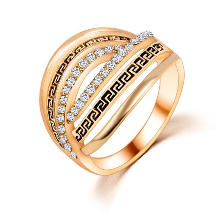 Горячая Новая Мода Красота Ретро Персонализированные Свадьбы Романтический Кристалл Hollow Различные Стили Кольцо Геометрическая Золотой