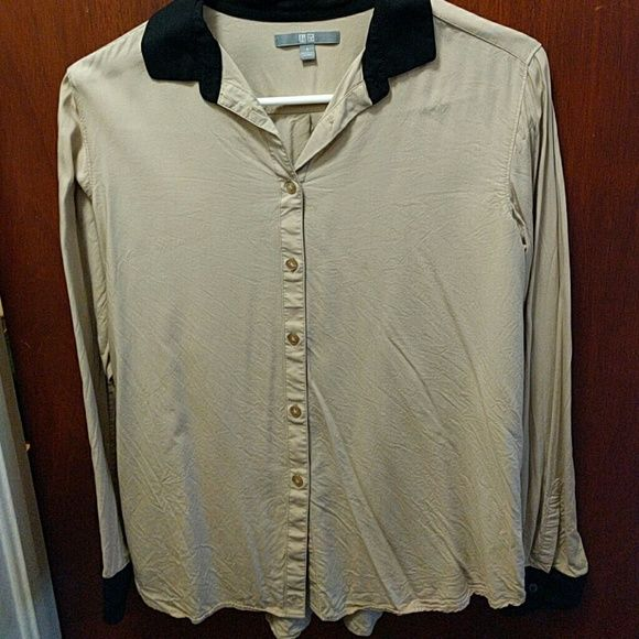 Uniqlo blouse Button down cream/beige blouse with black cuffs and collar. Size small. UNIQLO Tops Button Down Shirts