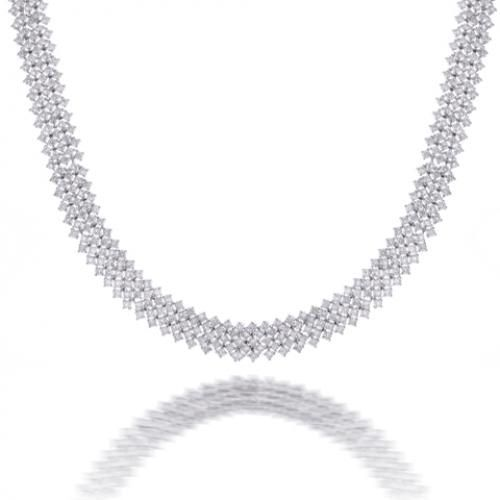 Bling Jewelry Cubic Zirconia Bridal Style Tennis Necklace Silver Tone