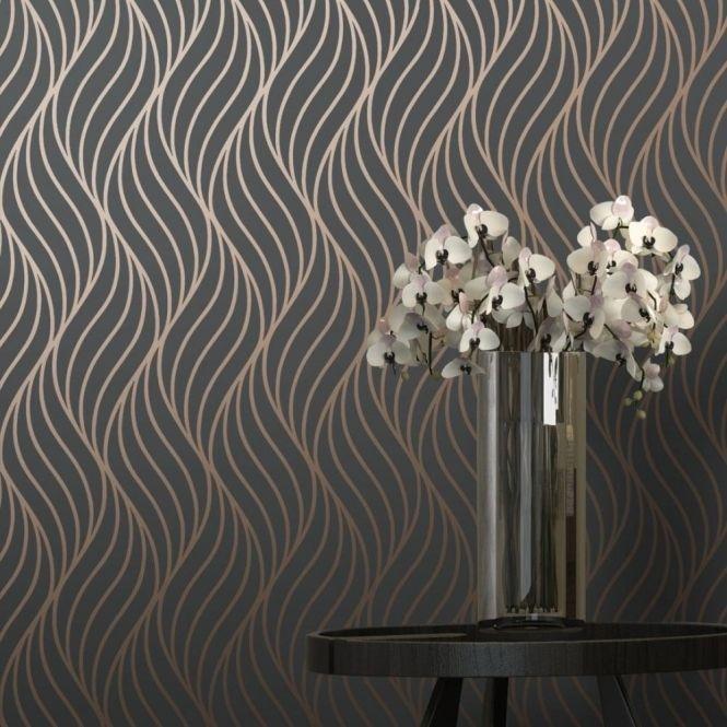 Shimmer Indulge Wallpaper Charcoal, Copper (50030)