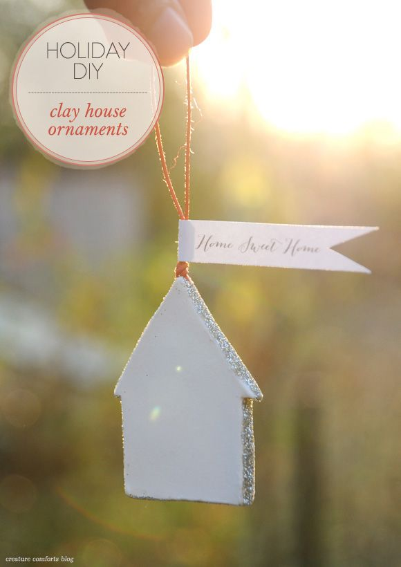 DIY: Simple Clay House Ornament Gifts | shared on Creature Comforts Blog in partnership with @vivint