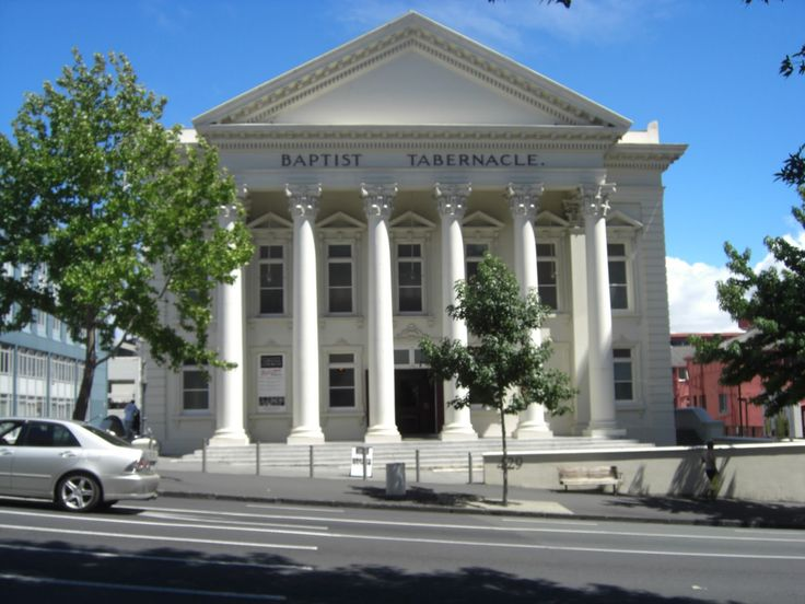 Baptist Tabarnacle front featuring Corinthian capitals