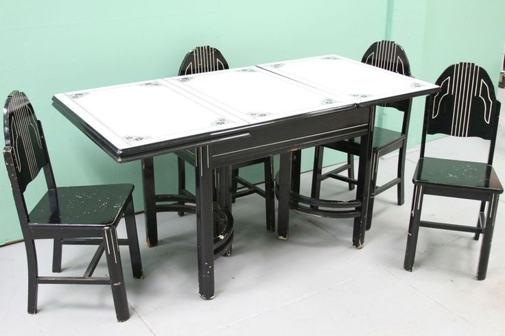 ART DECO ENAMEL TABLE AND CHAIR SET #ArtDeco