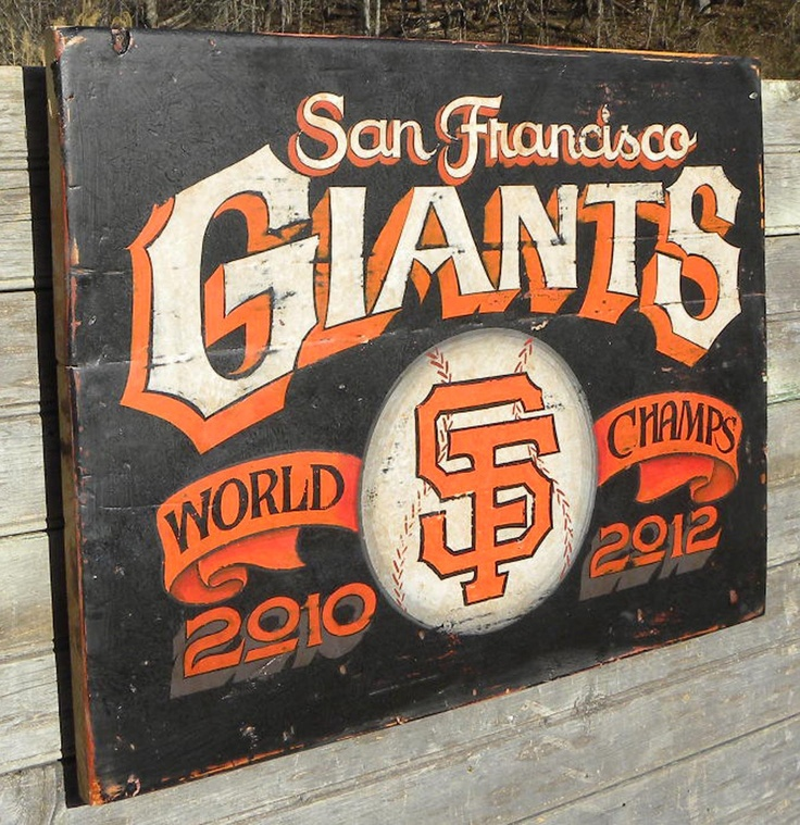 San Fransico Giants Sign, hand painted,,original, art ,  wooden ,SFG decor, wall hanging. $160.00, via Etsy.