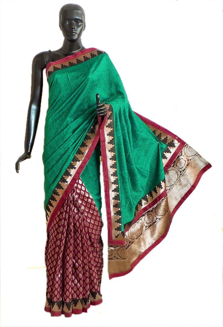 Green+and+Maroon+Designer+Saree+with+Golden+Zari+Design+on+Pleats,+Border+and+Pallu+(Ghicha+Silk)
