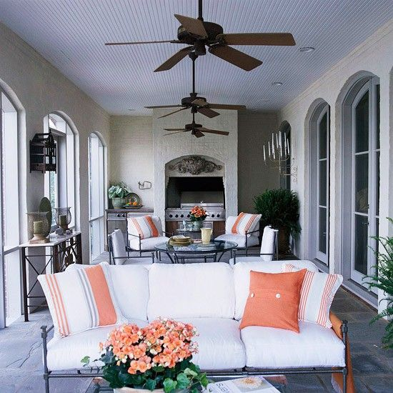 Stay cool on this beautiful porch and enjoy the summer heat under these 3 Hunter Original ceiling fans
