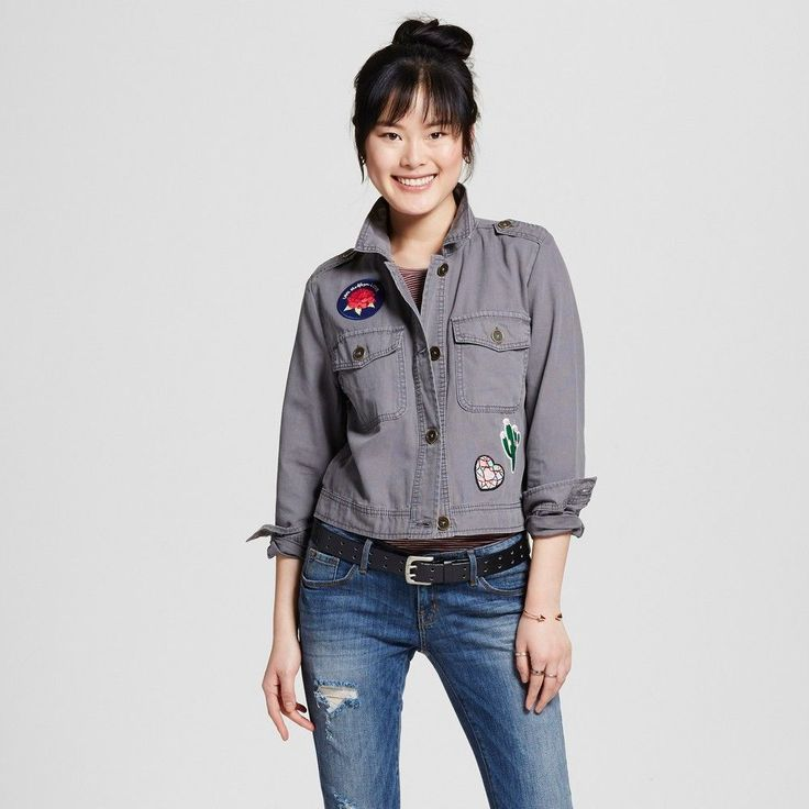 Women's Utility Jacket with Patches Gray Xxl - Mossimo Supply Co., Blue