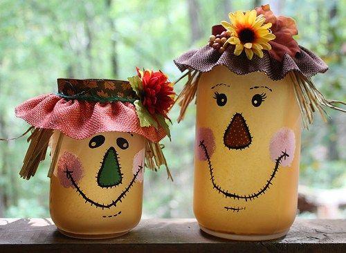 Scarecrow Mason Jar Tea Light Candle Set