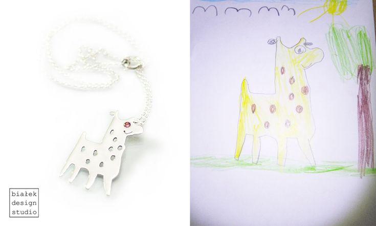 Personalized Necklace (natural garnet) | Children's Drawings Inspired Jewelry Made By The Polish Artist Bialek Design Studio | https://www.facebook.com/bialekdesignstudio/