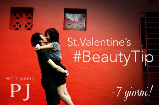 Inizia il #countdown! Mancano solo 7 giorni a #SanValentino! Non poteva mancare un #BeutyTip dedicato agli #innamorati: per dendere la #pelle del #viso più #distesa e #luminosa basta... #baciarsi! Infatti la tensione del #volto nell'atto del #baciare migliora la #circolazione superficiale del #sangue, creando un effetto benefico.  E se dopo #mille #baci non ne potete più, provate la #crema #giorno #superidratante Petit Jardin!