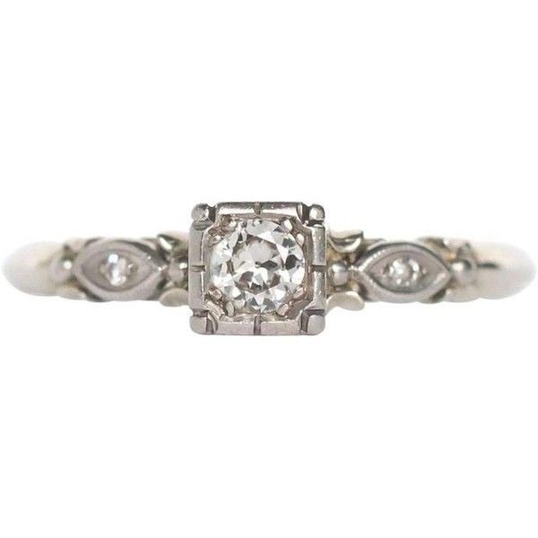 Preowned 1940s Art Deco .20 Carat Diamond White Gold Engagement Ring ($1,000) ❤ liked on Polyvore featuring jewelry, rings, engagement rings, white, white gold diamond rings, antique rings, white diamond ring, antique art deco rings and 18k diamond ring