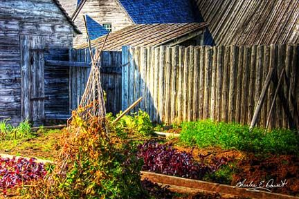 Replica of a vegetable garden as it would have appeared in the 1700's, in the Fortress of Louisbourg, Cape Breton, Nova Scotia.