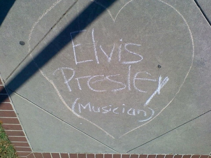 Sidewalk Chalk -- Elvis Presley Musician -- Augusta State University --- Had to take a pic my mom is a total Elvis freak lol