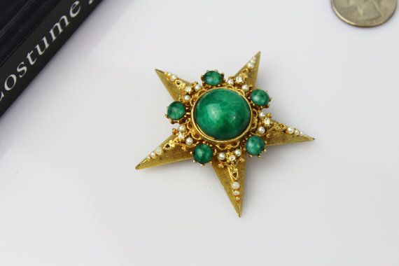 Vintage Signed Mandle Large Green Malachite Star Clear by #Jewelrin #Mandle #FashionJewelry