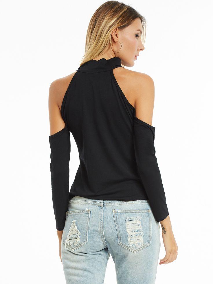 Chicloth Black Slim Cold Shoulder Hollow Plain T-shirt