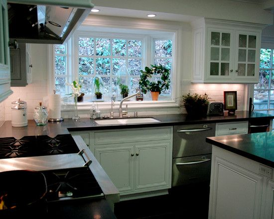 : Traditional Kitchen With Black And White Themed Color Also Charming Kitchen Garden Window Also Classic White Kitchen Cabinet Also Modern Sink And Faucet Also Modern Cooker And Exhaust Hood