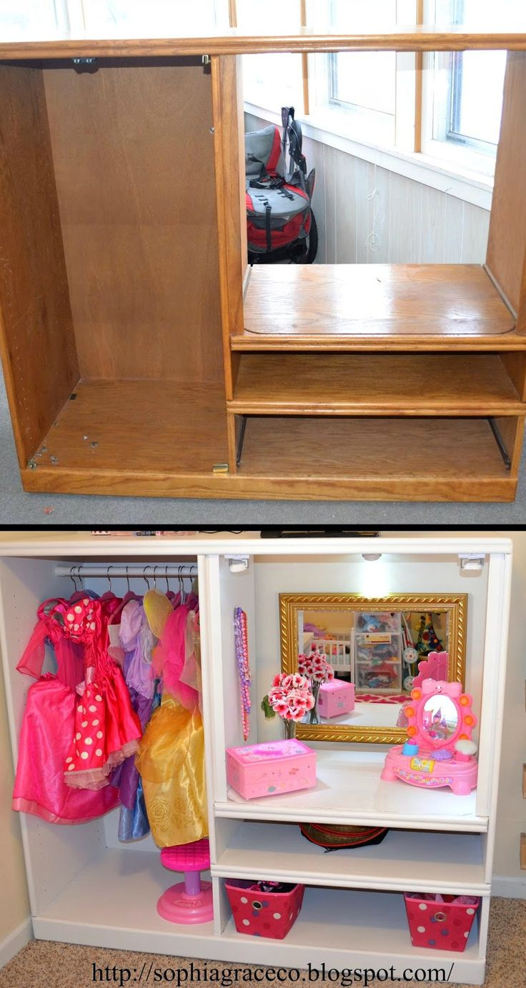 How To Turn An Old Entertainment Center Into A Dress Up Station