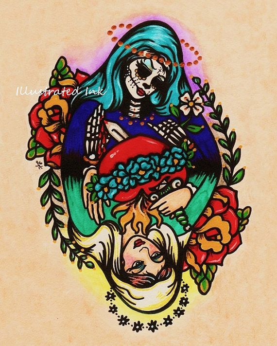 Day of the dead virgin mary old school tattoo art print 5 for Tattoo school listings
