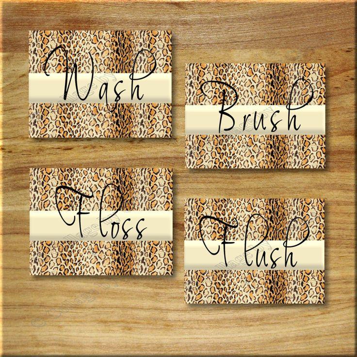 Leopard Bathroom Cheetah Print WORD Art Wall Decor Wash Floss Brush Flush Animal Print by collagebycollins on Etsy https://www.etsy.com/listing/207309542/leopard-bathroom-cheetah-print-word-art