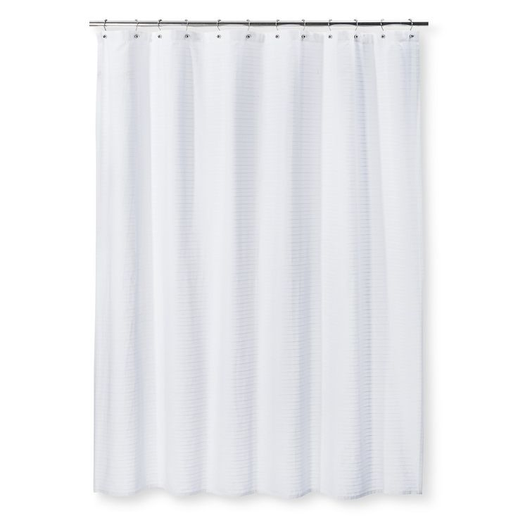 "• Made of 100% cotton<br>• Buttonhole top<br>• Measures 72""x72""<br><br>Get a fresh new start in your bathroom with the Woven Stripe Shower Curtain in White from Threshold. This white-on-white cotton shower curtain has subtle striping for a clean look."