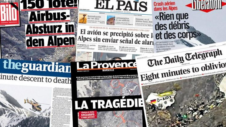 Portadas de los diarios del mundo exhiben la conmoción por la tragedia de Germanwings. | Multienlaces