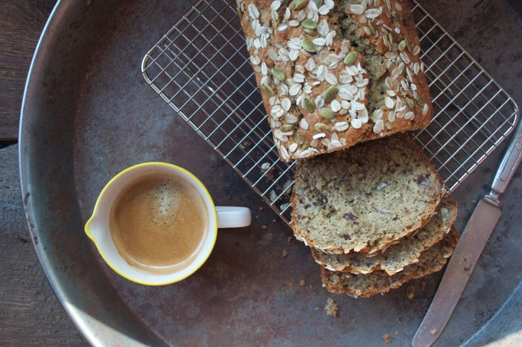 Banana Oat Bread with Pecans, Walnuts and Pumpkin Seeds.