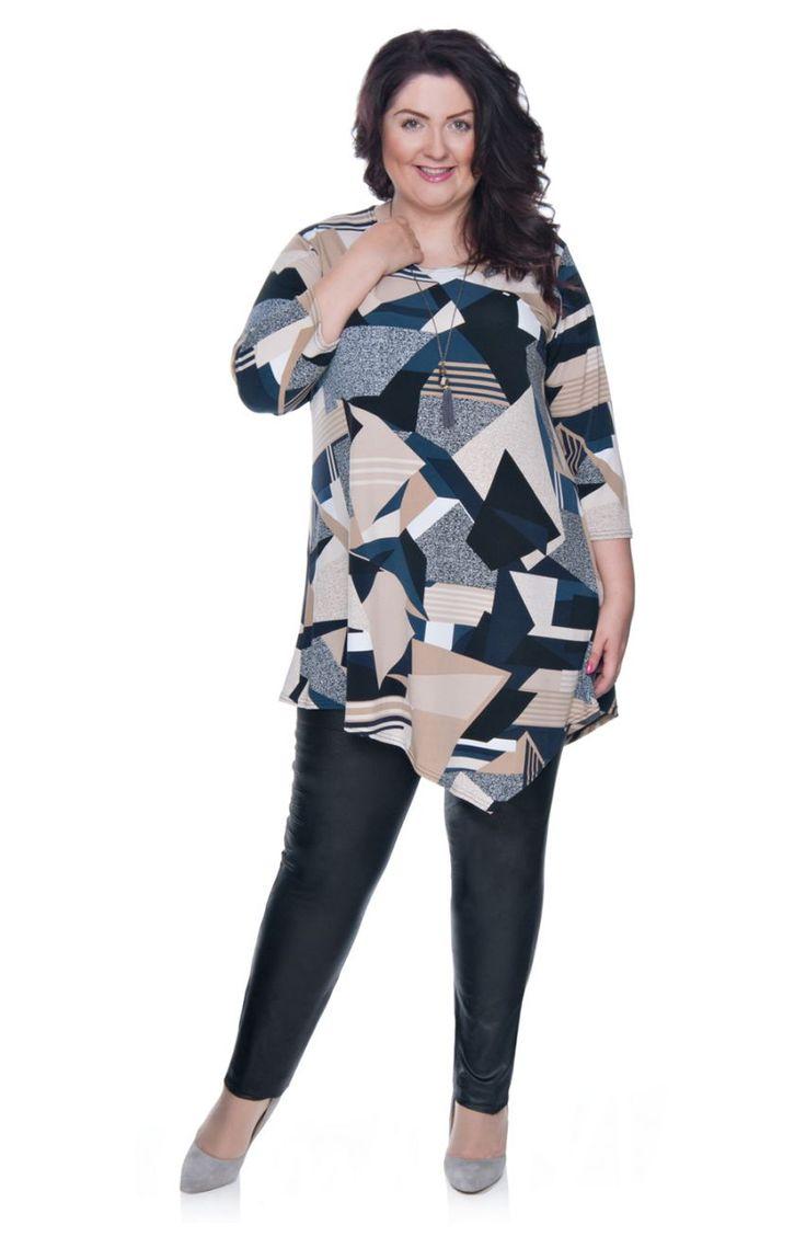 Asymetryczna tunika we wzór - Modne Duże Rozmiary