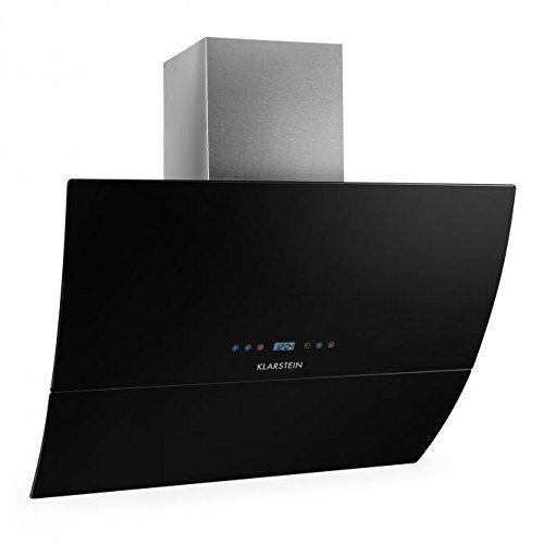Klarstein RGL90BL Hotte aspirante design moderne épuré (90cm, 550m³/h, timer, 65dB, classe énergétique C, recyclage d'air possible) - verre…