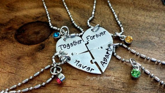 Together Forever Never Apart Four Piece Puzzle Heart Necklace Set, Hand stamped 4 Split Heart Necklace Set, Sisters Jewelry, Best Friends Set