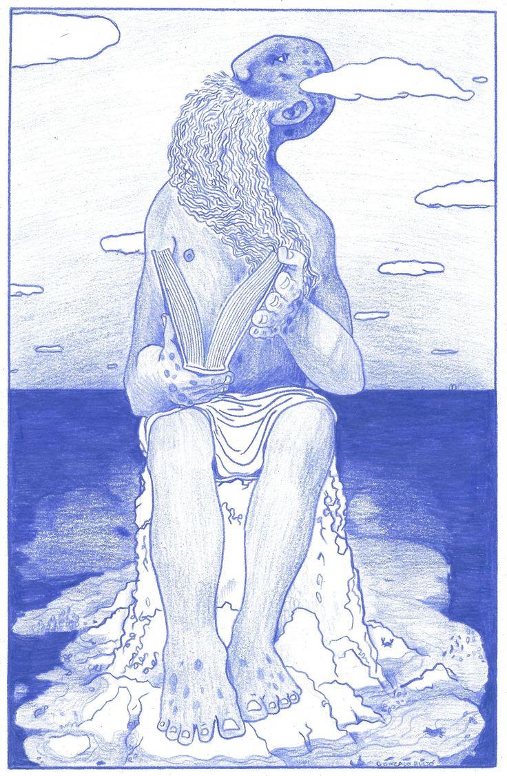 Santo  (Imagenescaneada) Fecha finalización: 06-‐05-‐2015, El Masnou Dimensiones:45 x 39  Procedimiento: Lapiz azul Mondeluz sobre papel