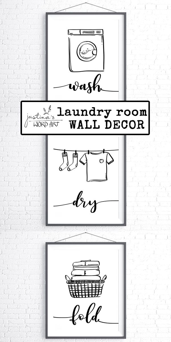 Wash Dry Fold Laundry Room Decor Set Of 3 Prints Utility Room
