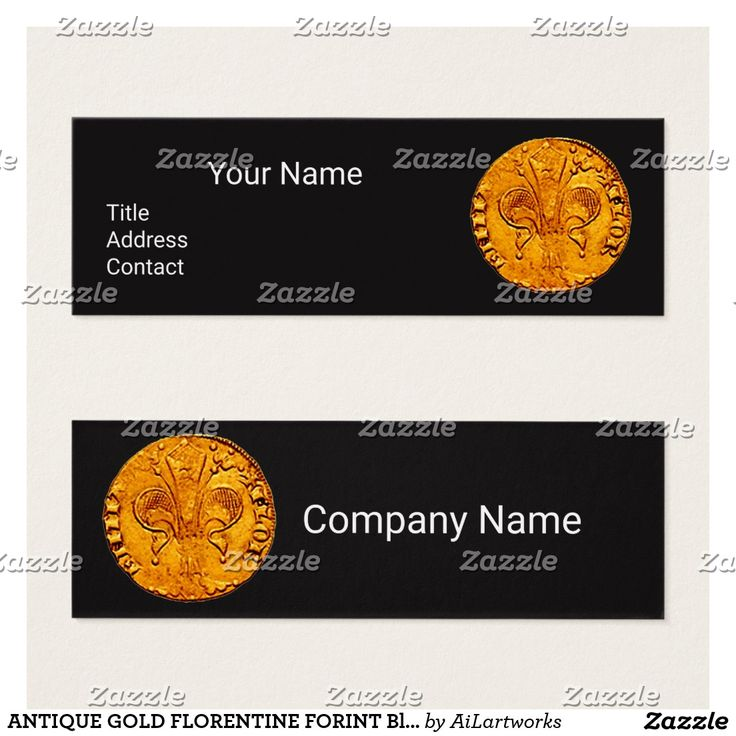 ANTIQUE GOLD FLORENTINE FORINT Black Paper Mini Business Card #numismatics #coin #fiorino #lilly #fleurdelise #coin
