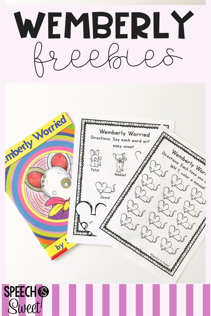 Wemberly Worried is a great book or speech therapy! This freebie addresses stuttering and a reinforcement page for WH questions!