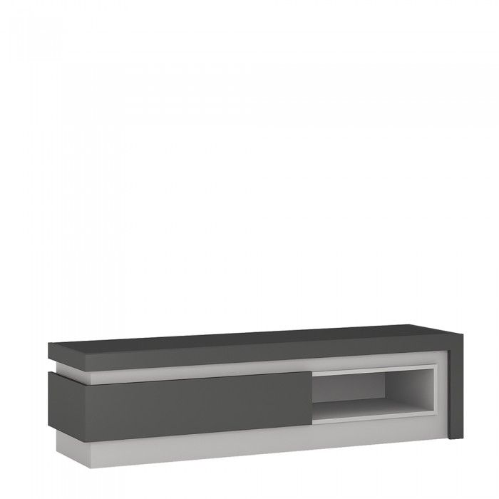 Nice compact 130cm wide low TV cabinet, has opening for satellite accessories, and handy storage drawers fitted with easy gliding runners - http://www.furn-on.com/lyon-platinum-1-drawer-tv-cabinet-with-open-shelf-including-led-lighting.html