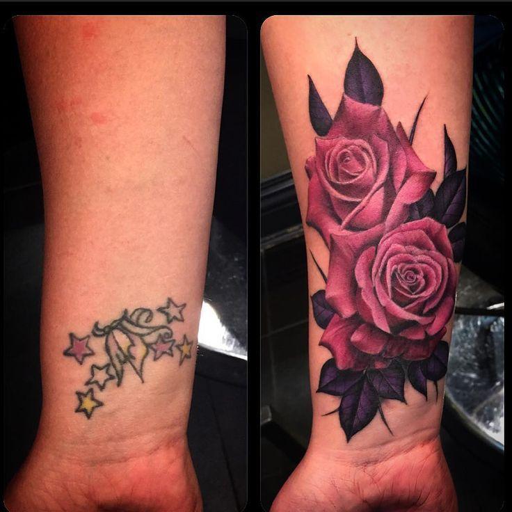 Resultado de imagem para realistic purple rose tattoo cover up
