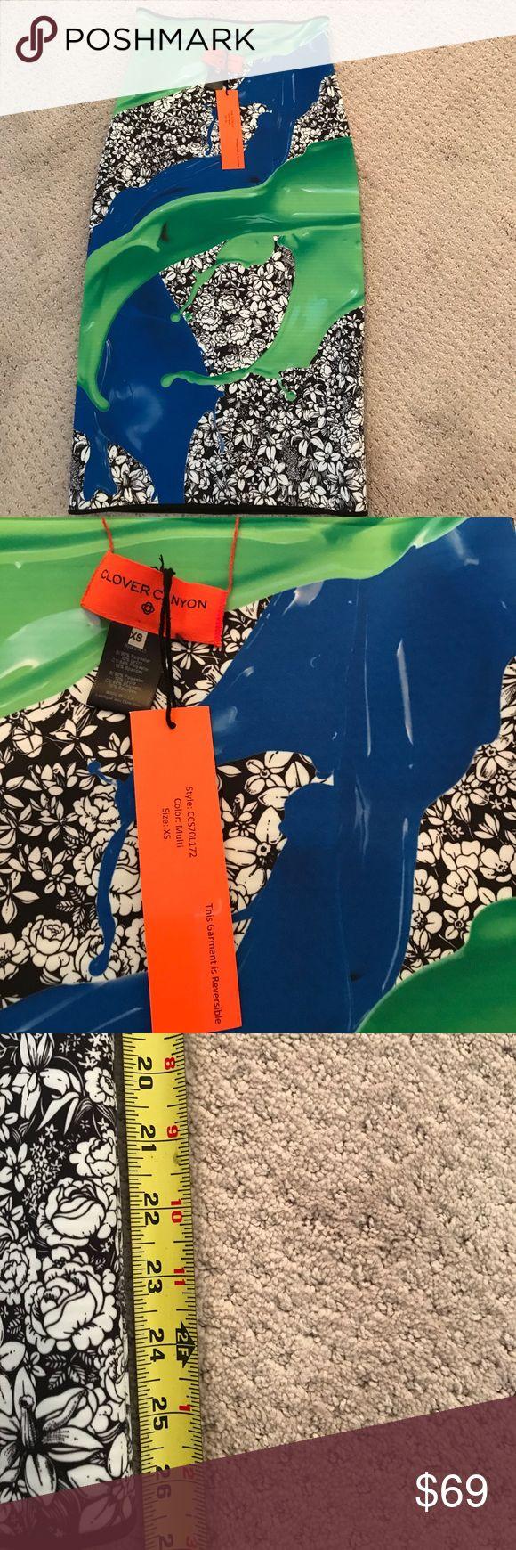Clover Canyon Neoprene reversible Skirt SZ XS Clover Canyon Neoprene Skirt  Reverse to Black & white stripe XS Stretch pull on Clover Canyon Skirts Midi