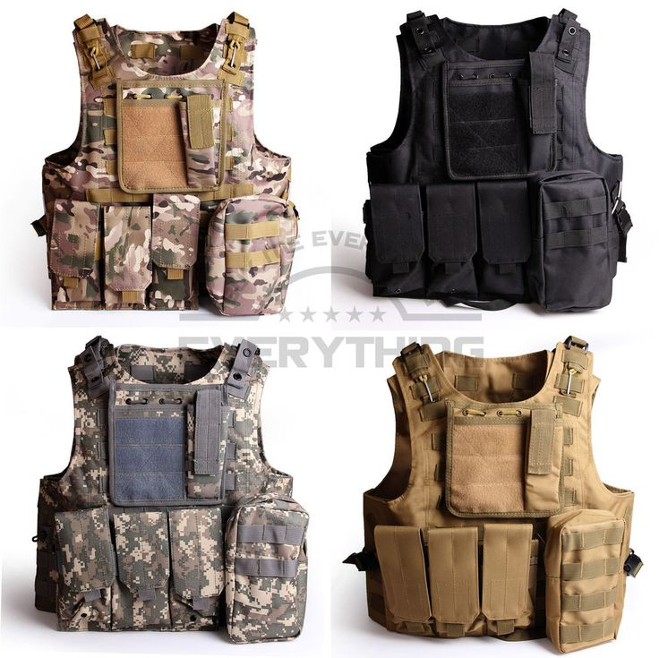 Army Military Molle Combat Airsoft Tactical Vest Adjustable X-XXL Plate Carrier #buymeeverything #ACUCamoCPCamoBlackKhaki