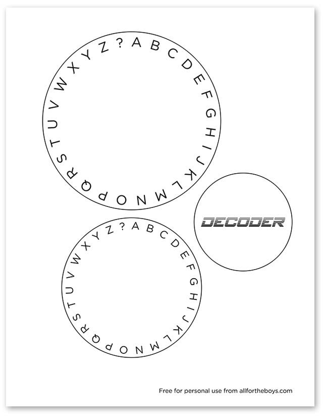 Every spy needs a way to send messages to his partner. The circle decoder is the perfect tool! You can have your kids make their own or print out this one Cut out the circles Arrange from smallest to biggest and use a brad in the center to attach them together Now you're ready to...Read More »
