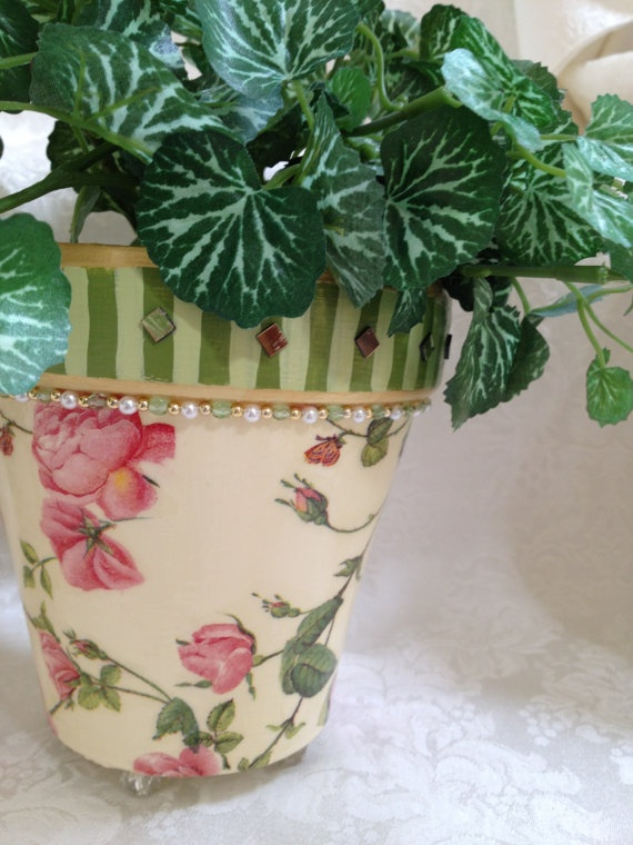 Painted Flower Pot Whimsical Pink Rose Motif by sharonmooradian, $30.00
