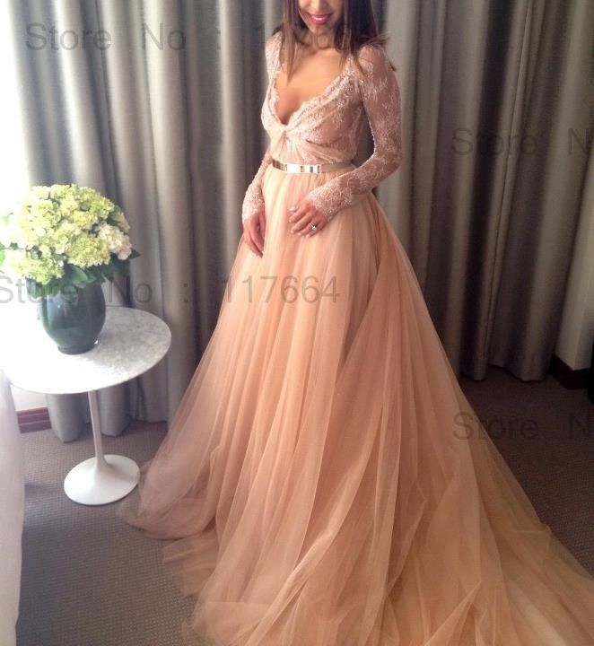 New Fashion Charming Deep V Neck Tulle Lace Long Sleeve Evening Dresses Evening Gown With Long Train Women Dress NP5520