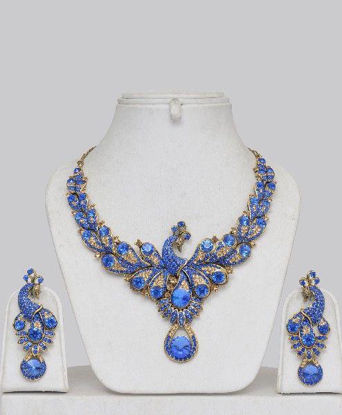 ღღღ  Blue stone peacock jewelry set...