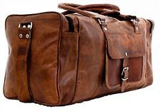 "20"" Leather Overnight Bag Weekend Duffle Travel Cabin Holdall Gym Sports Luggage"
