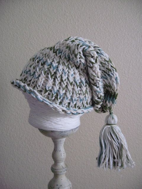 Slouchy Long Loom Knit Hat with Tassel by burlapbikini on Etsy, $15.00