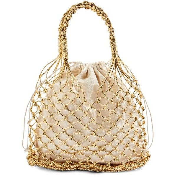 Women's Topshop Shakira Woven Shopper ($38) ❤ liked on Polyvore featuring bags, handbags, tote bags, gold multi, shopper tote, pouch purse, woven tote, woven handbags and boho purses