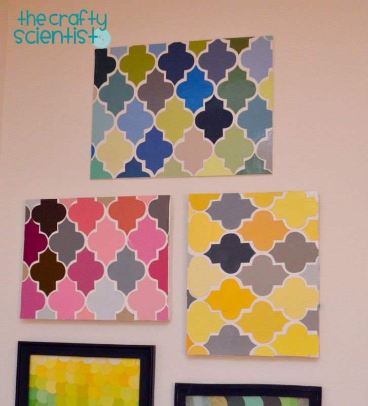 Quatrefoil wall hanging = ADORABLE!: Wall Art, Crafts Ideas, Paintings Chips Wall, Quatrefoil Art, Projects Ideas, Paintings Chips Art, Paintings Chips Crafts, Paintings Samples, Chips Quatrefoil