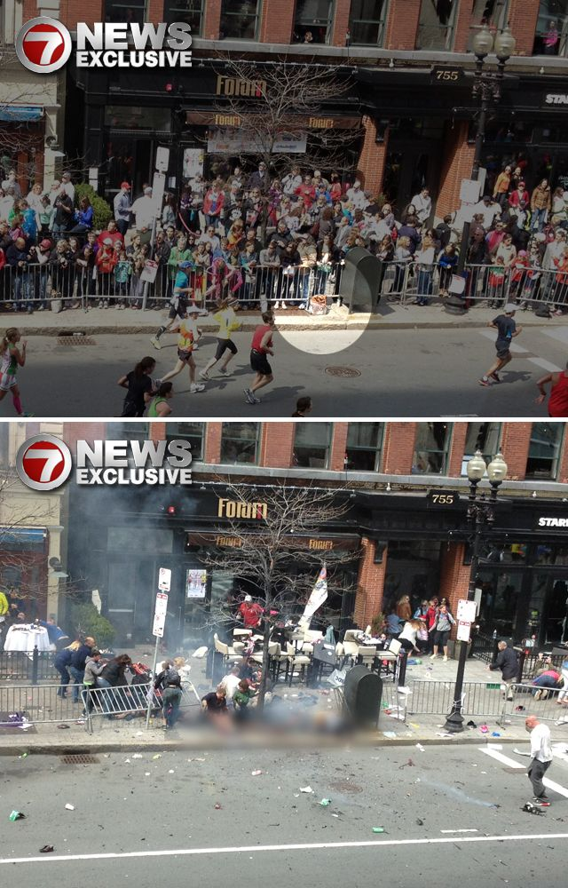 Marathon Bomb Before And After from channel 7 News
