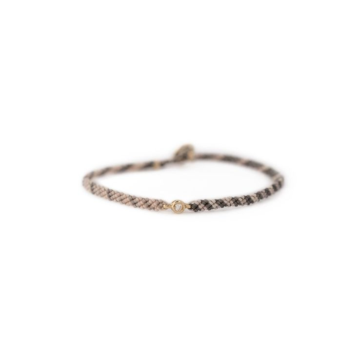 Classic Diamond Bracelet - 10k Yellow Gold, White Diamond, Flyline Nylon