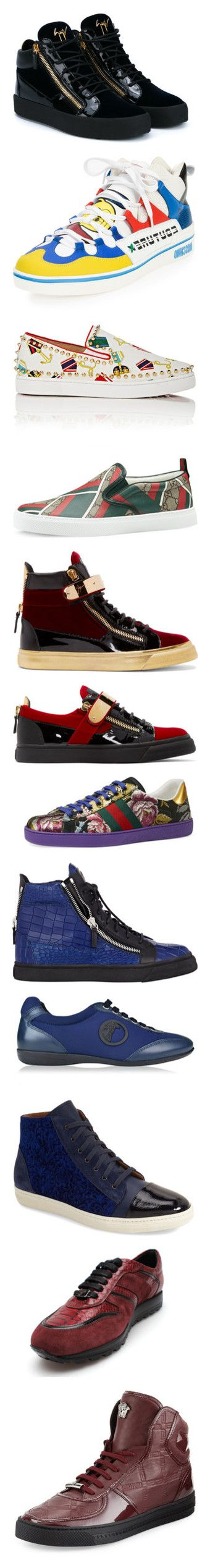 """""""Footwear"""" by palmershaun ❤ liked on Polyvore featuring men's fashion, men's shoes, men's sneakers, mens velvet shoes, mens leather sneakers, mens leather shoes, giuseppe zanotti mens sneakers, multi colors, moschino mens shoes and mens perforated shoes"""